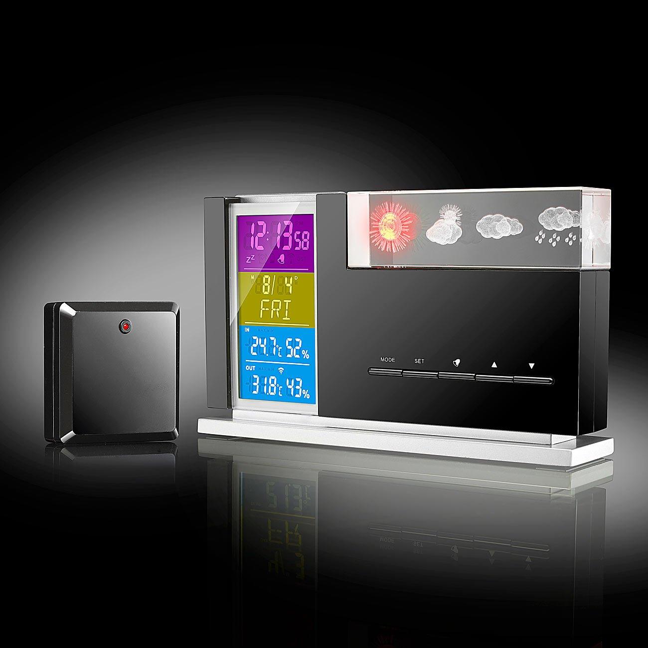 Infactory – Elegante Despertador: 3d de holograma de Pronóstico del Tiempo & Sensor exterior: Amazon.es: Jardín
