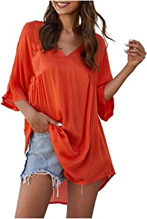 Fashion Women's Summer Shirts 3/4 Sleeve Blouse V Neck T-Shirt Casual Tops Tee