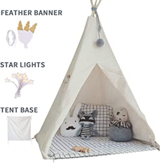 little dove Kids Foldable Teepee Play Tent with Carry Case, Banner, Fairy Lights,..