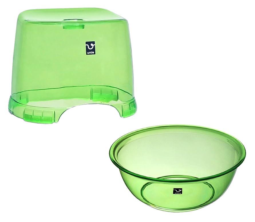 内側後福祉シンカテック 風呂椅子 HK & 湯桶 SX セット アンティクリスタル グリーン