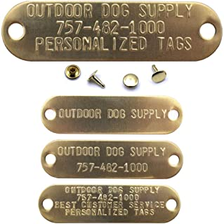 Custom Stamped Brass Dog Collar Name Plate ID Tag