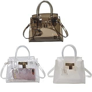 Women Shoulder Bag, Transparent Jelly Bag Lock Buckle Simple Handbag Tote Casual Crossbody Bag for Beach, Travel, Vacation, Shopping, 19x17x10cm