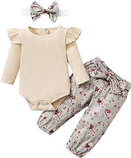 Amissz Ensemble Bébé Fille, Enfant Infantile Combi-Short à Manches Longues + Pantalon imprimé Fleuri 3-24 Mois