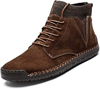 SHENTIANWEI Combat Boot for Men High Top Boots Lace Up Suede Anti Slip Soft Knit Sock Shoes Stitching Warmth Outdoor Flats (Fleece Inside Option) (Color : Brown Fleece Lined, Size : 6.5 UK)