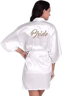 FEOYA Women's Bride Robe Party Wedding Getting Ready Robes Satin Silk Loungewear