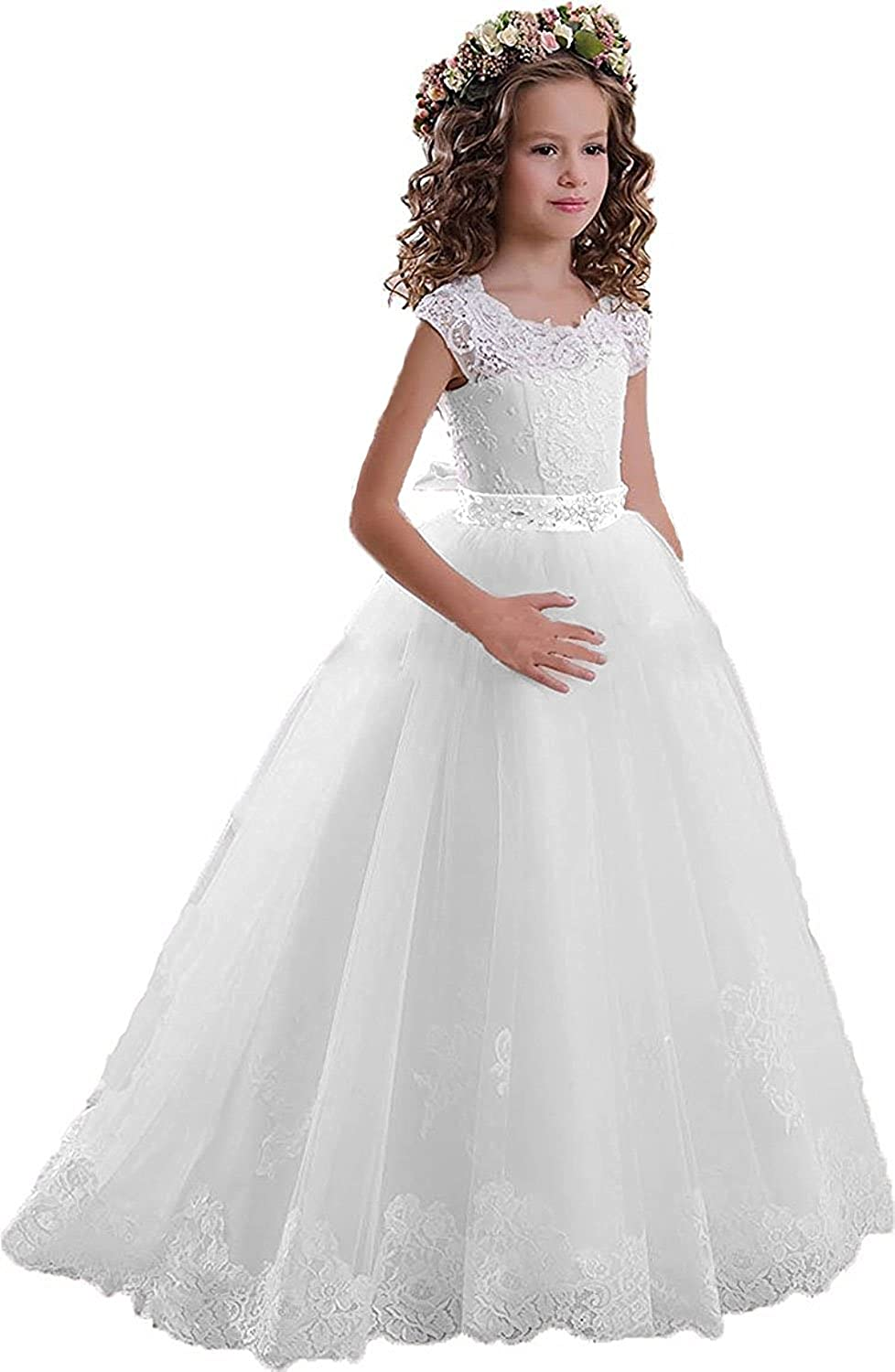 KissAngel White Lace Flower Girl Dresses Ivory Drill Less Party Dress for  Wedding