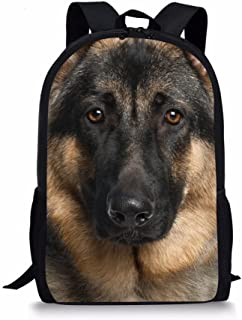 INSTANTARTS Cool Police Dog Black and Brown Backpack Kids Bookbags Back to School
