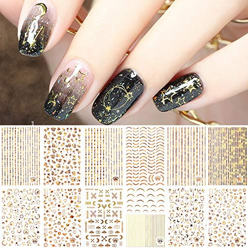 Metallische Nagelsticker Selbstklebend, EBANKU 12 Blatt Gold Nail Art Aufkleber 3D Laser Metallic Ketten Blatt Sterne Linie Streifen Nagel Aufkleber für Frauen Mädchen