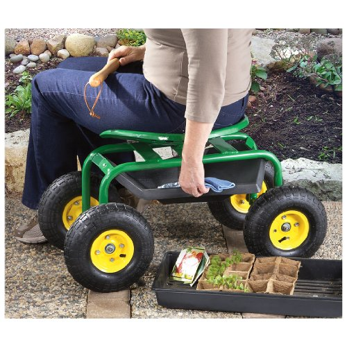 CASTLECREEK Rolling Garden Seat with Built-in Tray