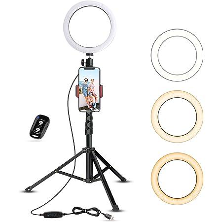 UBeesize - Anello per selfie con supporto per treppiede e supporto per cellulare per Live Stream/Trucco, mini luce LED per YouTube Video/Fotografia compatibile con iPhone Xs Max XR Android