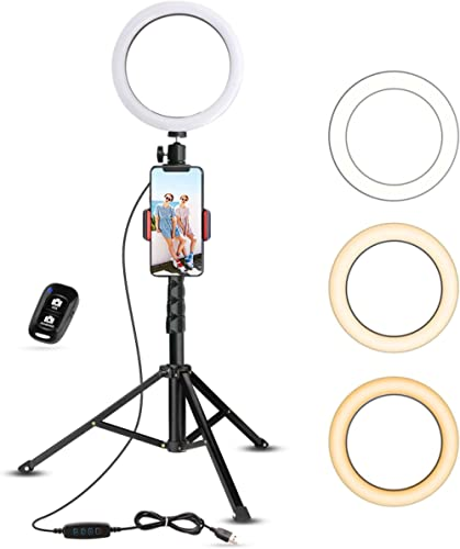 UBeesize Selfie Ring Light with Tripod Stand & Cell Phone Holder for Live Stream/Makeup, Mini Led Camera Ringlight fo...