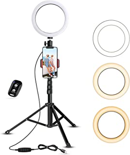 Selfie Ring Light with Tripod Stand & Cell Phone Holder for Live Stream/Makeup, UBeesize Mini Led Camera Ringlight for You...