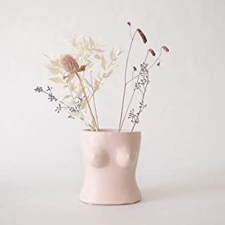 BASE ROOTS Body Flower Vase, Vases for Decor, Modern Boho Chic Home Decor, Small Accent Piece for Living Room, Indoor Plant, Shelf, Mantle, Table, Office, Desk, or Dorm (Top, Speckled Pink)