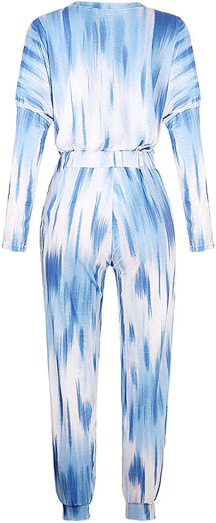 VEZAD Women Star Print Tracksuit Pocketed Casual Home Long Sleeve Top Long Pant 2pcs Outfits