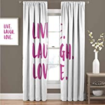 GUUVOR Live Laugh Love Blackout Curtain Positive Live Laugh Love Quote with Brush Stroke Effect Hand Lettering 2 Panel Sets Curtain 52