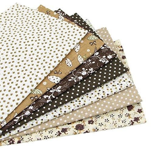 7 Stück 49cm * 49cm brauner Baumwollstoff,patchwork stoffe,baumwollstoff meterware,stoffe patchwork stoffpaket