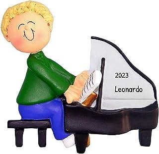 Personalized Musician Boy Playing Piano Christmas Tree Ornam