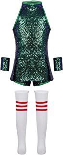 Big Girls' Hip Hop Dance Costumes Kids Shiny Sequins Jazz Performance Cheerleading Uniform Clothing Set