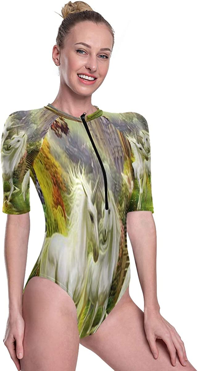 SLHFPX Womens Zip Up Printed Short Sleeve 1 Piece Rash Guard Swimsuit Unicorn Horse Swimwear