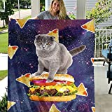 SIGYCLU Funny Cat Starry Pizza Throw Blanket Fantasy Galaxy Bed Blanket Super Soft and Cozy Fleece Gift for Kids Boy Girls 30'X25'