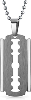 Large Razor Blade Silver Tone Beveled Edge Dog Tag Pendant Necklace for Men Stainless Steel 20 Inch