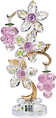 H&D HYALINE & DORA Crystal Pink Grape Decor with Rotating Base Collectible Figurines Ornaments Display for Home Table Centerp