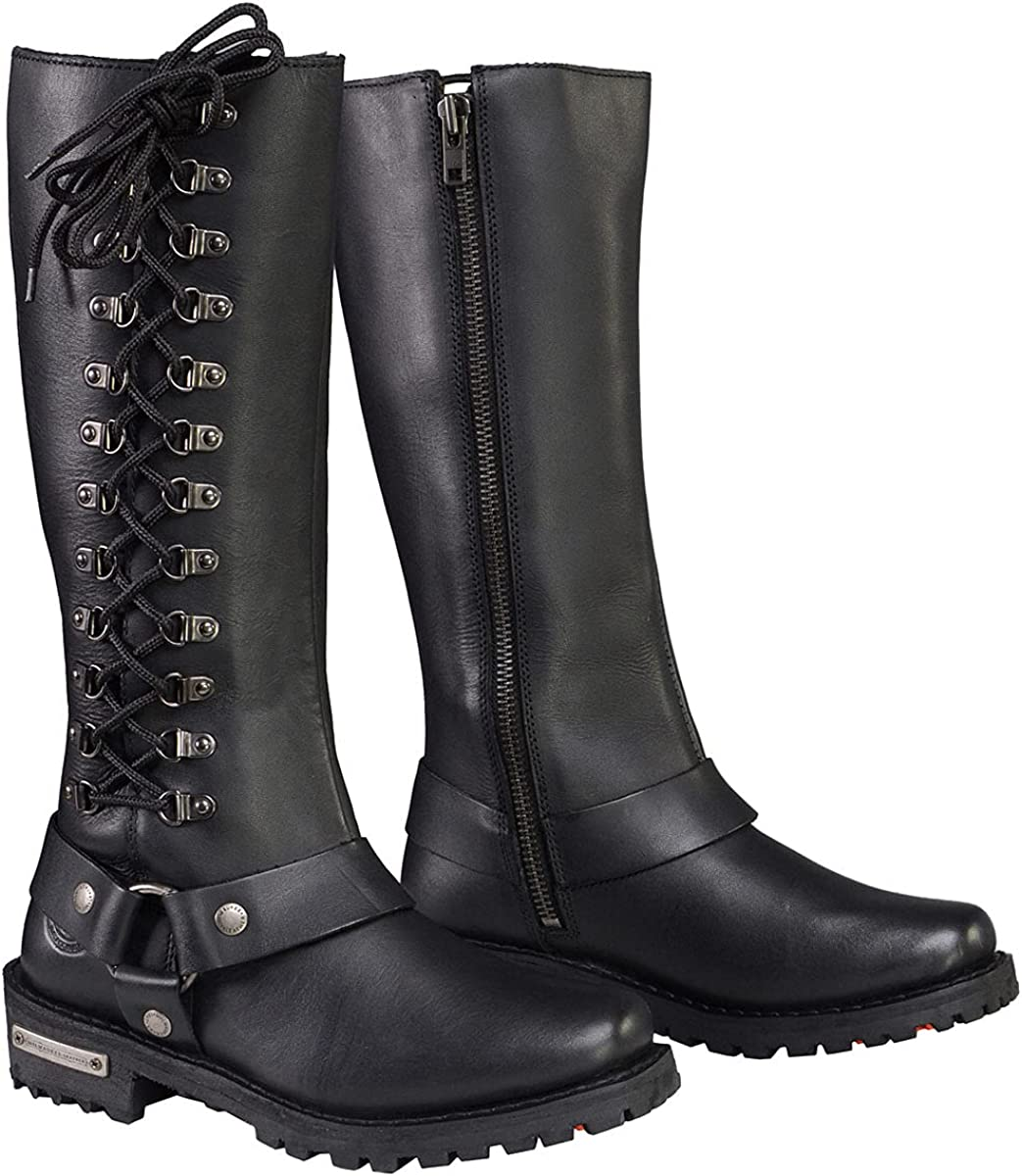 Milwaukee Leather MBL9365 Ladies Black 14-Inch Classic Harness Square Toe Leather Tall Boots with Lacing Detail