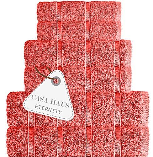 Casa Haus Eternity - Algodón Air Twist 600 gsm - Juego de Toallas de 6 Piezas - 2 Toallas de baño, 2 Toallas de Mano 2 paños, Juego de Toallas -Living Coral