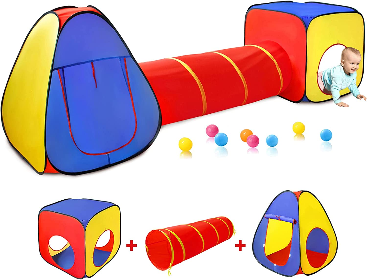 Kids Play Tent with Ball Up Pit+Crawl Industry No. 1 Tunnel+Castle Arlington Mall Pop To