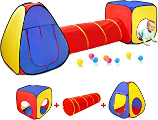Kids Play Tent with Ball Pit+Crawl Tunnel+Castle Tent, Pop Up Toddlers Playhouse for Boys and Girls Gift, Collapsible Chil...