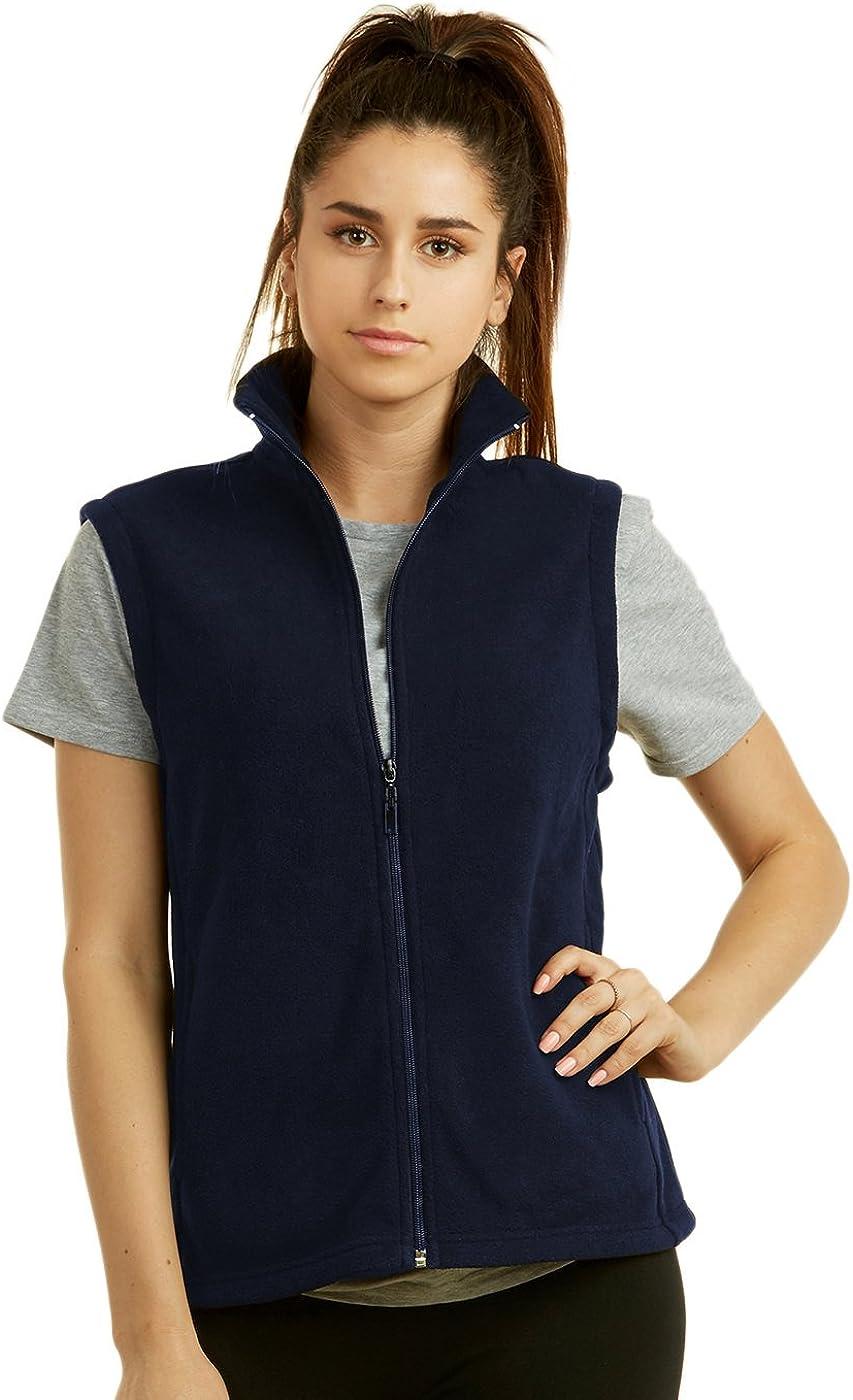 Sofra Women's Polar Fleece Full Zip Up Winter Vest