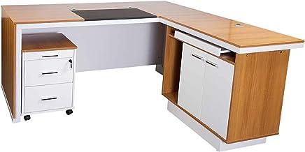 Mahmayi Zelda Modern Executive Desk, Brown/White, 180 x 160 x 76 .5 cm, Zhm225-16Exec