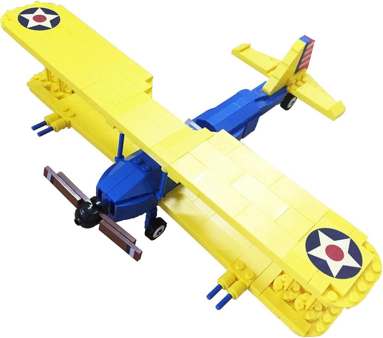 Bestoyz The Fighter of World War II PT17 Stearman Biplane Building Bricks Kit, WWII Military US Army Airplane Model Toys (340PCS)