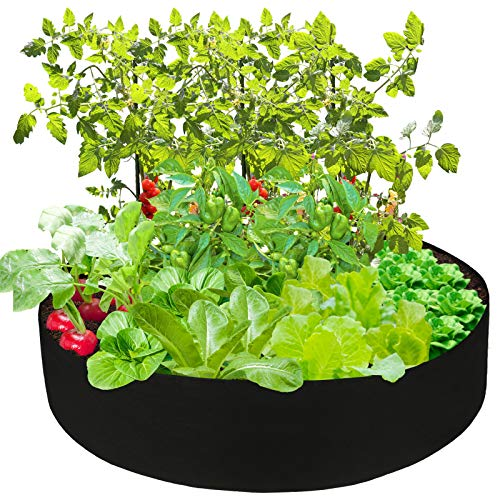 Hapeisy Fabric Raised Garden Bed, 100 Gallon Round Raised Bed Planter Grow Bag Garden Bed Bag for Plants, Herb, Flowers and Vegetables, Black (Dia 50 x H 12inch)