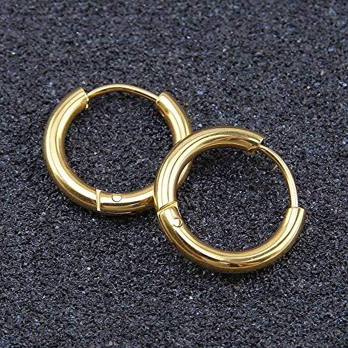 Pendientes Mujer Pendientes De Aro Redondos Simples De Moda Pendientes Perforados Femeninos-Gold_8Mm