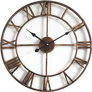 Taodyans - Reloj de pared silencioso con números romanos (40cm), diseño metálico con engranajes vistos, ideal para salón,...
