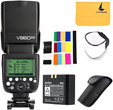 Godox V860II-C TTL Canon Camera Flash Speedlite 2.4G Wireless HSS 1/8000s Li-ion Battery Compatible for Canon 6D 7D 50D 60D 500D 550D 600D 650D 1DX 580EX II 5D Mark II III (Godox V860II-C)
