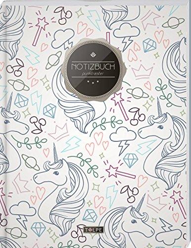 """TULPE Punktraster Notizbuch A4 """"C061 Einhörner"""" (140+ Seiten, Vintage Softcover, Punktkariertes Papier - Bullet Journal, Dickes Notizheft, Skizzenbuch, Tagebuch, Gepunktete Seiten, Dot Grid Notebook)"""