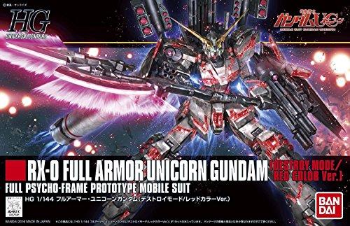 "Bandai Hobby HGUC Full Armor Destroy Mode/Red Version Gundam Unicorn Model Kit (1/144 Scale), Multicolor, 8"" (BAN207581)"