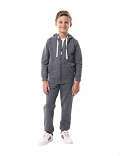 Kady Front Pocket Contrast Drawstring Hooded Jacket with Elastic Cuff Pants Cotton Tracksuit for Kids - Heather Dark Grey,...
