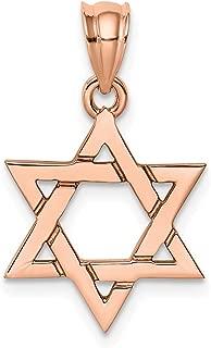 Lex & Lu 14k Rose Gold Polished Star of David Pendant