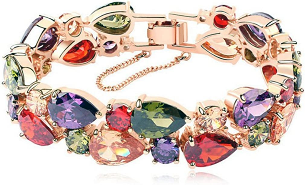 Hermosa Rose Gold Plated Multicolor Austria Crystal Elements Jewelry Set Necklace Earrings Bracelet and Ring