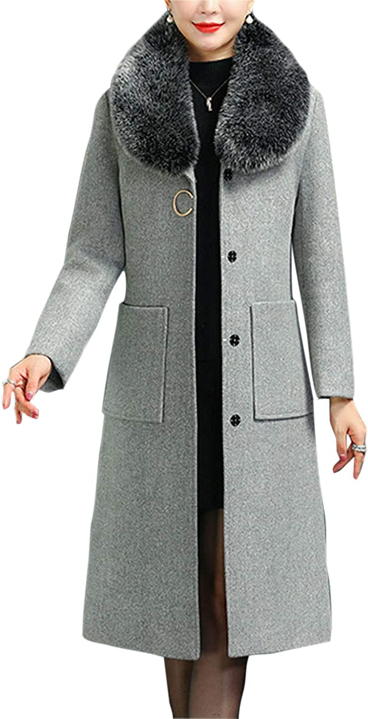 Uaneo Womens Slim Fit Faux Fur Collar Button Up Wool Blended Mid Long Coat Jackets(Darkgrey-S)
