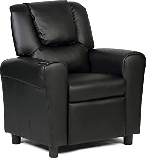 Costzon Contemporary Kids Recliner, PU Leather Lounge Furniture for Boys & Girls W/Cup Holder, Children Sofa Chair (Black)