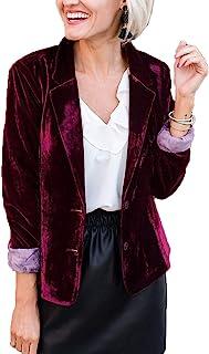 Women Velvet Blazers Jacket Coat Long Sleeve Draped Button Down Blazer Outwears