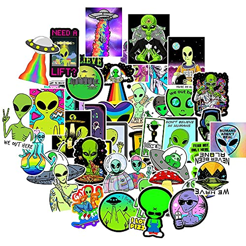 Cool Ufo Alien etiqueta engomada portátil botella de agua monopatín guitarra impermeable estético graffiti etiqueta bolsa niños juguetes 50 unids