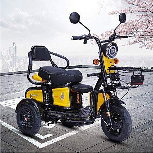 WJSW Elektroroller Dreirad Elektroantrieb Motorrad ältere Menschen im Freien Reiserollstuhl übergroße Batterielebensdauer 60V/48V20A Lithiumbatterie, gelb, 60v20a