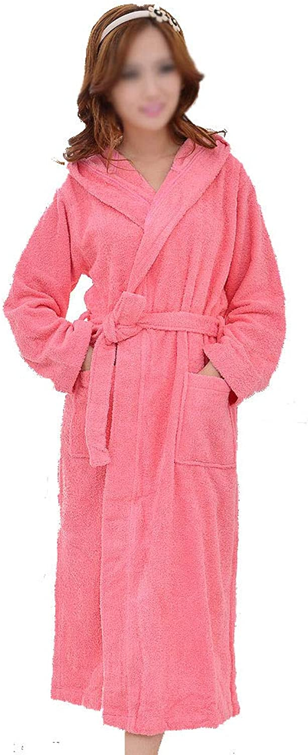 Bathrobes, Solid color Men's and Women's Terry Cloth Robes, Cotton Nightgown with Hood, Hotel Home