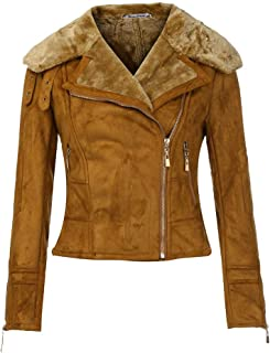 Women Winter Warm Fur Lined Short Coat Leather Jacket Parka Zipper Tops Overcoat Outwear