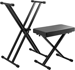 Tiger KAP-PK2 Keyboard Stand & Stool Pack – Height Adjustable Double Braced X-Frame Keyboard Stand and Piano Stool Packag...